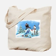 Snowman with Birds Tote Bag