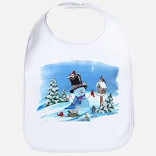Snowman with Birds Bib