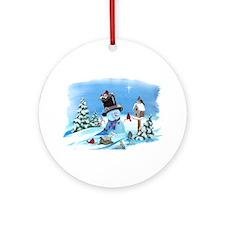 Snowman with Birds Ornament (Round)