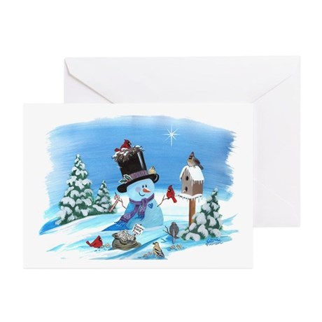 Snowman with Birds Greeting Cards (Pk of 10)