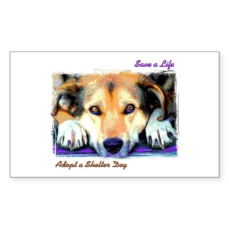Save a Life - Adopt a Shelter Sticker (Rectangular