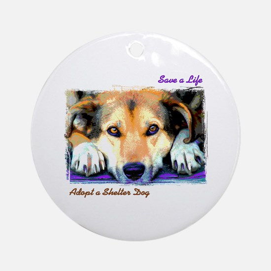 Save a Life - Adopt a Shelter Ornament (Round)