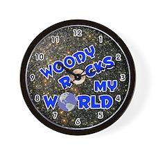 Woody Rocks My World (Blue) Wall Clock