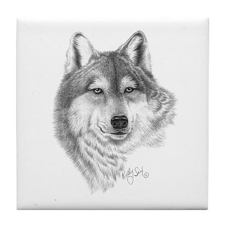 Gray Wolf Tile Coaster