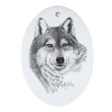Gray Wolf Oval Ornament