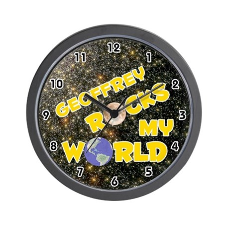 Geoffrey Rocks My World (Gold) Wall Clock