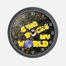 Gina Rocks My World (Gold) Wall Clock