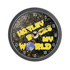 Harley Rocks My World (Gold) Wall Clock
