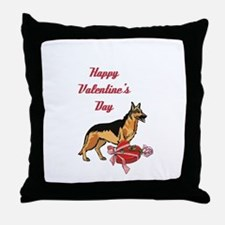 Happy Valentines Day German Shepard Throw Pillow