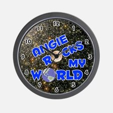 Angie Rocks My World (Blue) Wall Clock