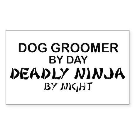 Dog Groomer Deadly Ninja Rectangle Sticker