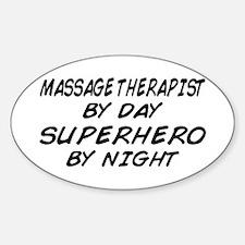 Massage Therapist Superhero Oval Decal