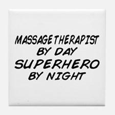 Massage Therapist Superhero Tile Coaster