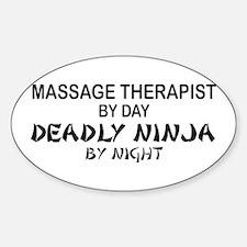 Massage Therapist Deadly Ninja Oval Decal