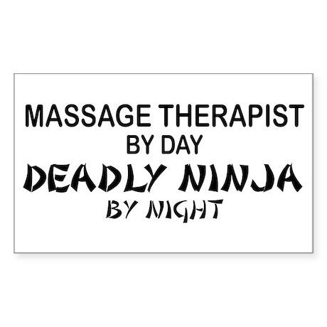 Massage Therapist Deadly Ninja Sticker (Rectangula