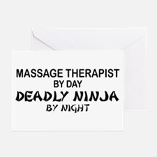 Massage Therapist Deadly Ninja Greeting Cards (Pk