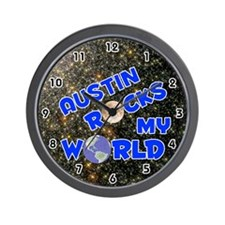 Austin Rocks My World (Blue) Wall Clock