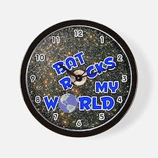 Bat Rocks My World (Blue) Wall Clock