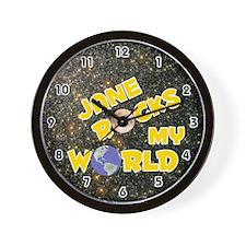 Jane Rocks My World (Gold) Wall Clock