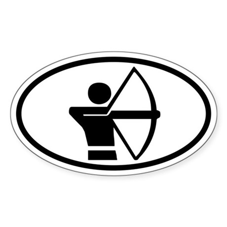 Archery Euro Oval Sticker with Archer Graphic