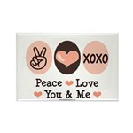 Peace Love You and Me Valentine Rectangle Magnet