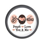 Peace Love You and Me Valentine Wall Clock