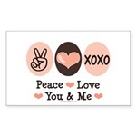 Peace Love You and Me Valentine Sticker (Rectangul