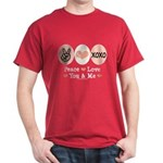 Peace Love You and Me Valentine Dark T-Shirt