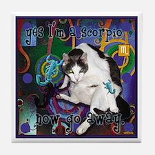 Cat Scorpio Tile Coaster