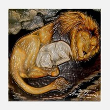The Lion and the Lamb Stained Glass Tile Coaster