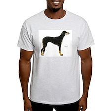 Saluki Dog (Front) Ash Grey T-Shirt