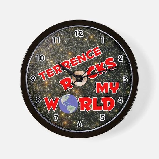 Terrence Rocks My World (Red) Wall Clock