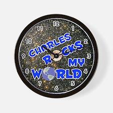 Charles Rocks My World (Blue) Wall Clock