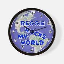 Reggie Rocks My World (Blue) Wall Clock