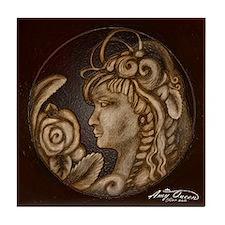 Darla cameo antique sepia Tile Coaster