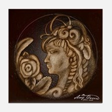 Darla cameo antique sepia Tile Coaster
