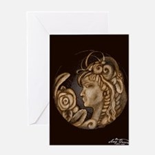 Darla cameo antique sepia Greeting Card