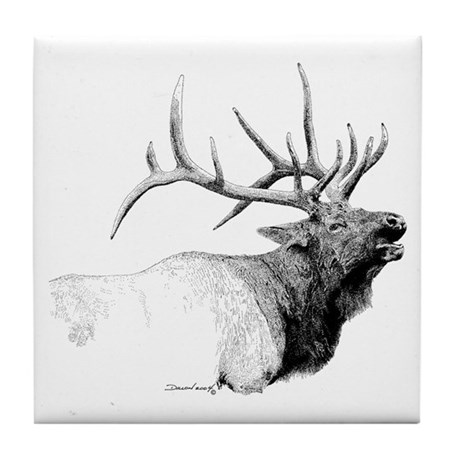 Bull Elk Tile Coaster