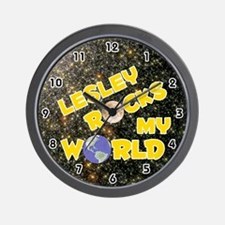 Lesley Rocks My World (Gold) Wall Clock