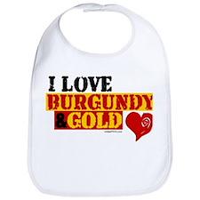 I LOVE BURGUNDY & GOLD Bib