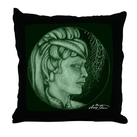 Hunter Green Throw Pillow : Margery cameo hunter green Throw Pillow by MinistryofHealingArts