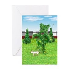 Jack Russell Peeing on Bear Hedge Greeting Card