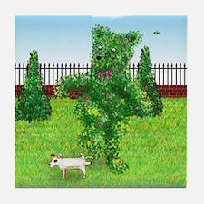 Jack Russell Dog Peeing on Bear Hedge Tile Coaster