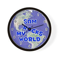 Sam Rocks My World (Blue) Wall Clock
