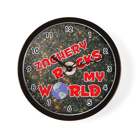 Zachery Rocks My World (Red) Wall Clock
