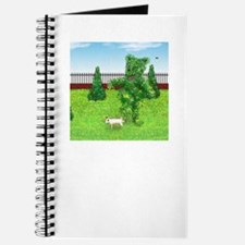 Jack Russell Peeing on Bear Shaped Hedge Journal
