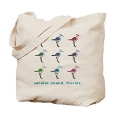 9 sandpipers (2-sided) sanibel island Tote Bag