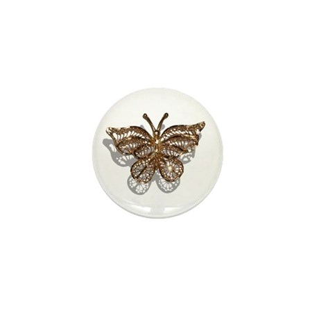 Gold Butterfly Mini Button