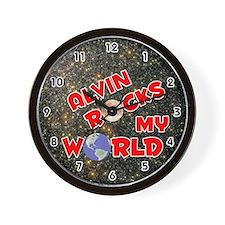 Alvin Rocks My World (Red) Wall Clock