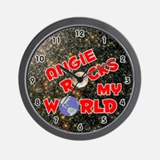 Angie Rocks My World (Red) Wall Clock